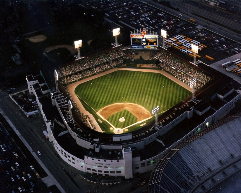 Comiskey Park Aerial At Night Chicago White Sox Framed Print