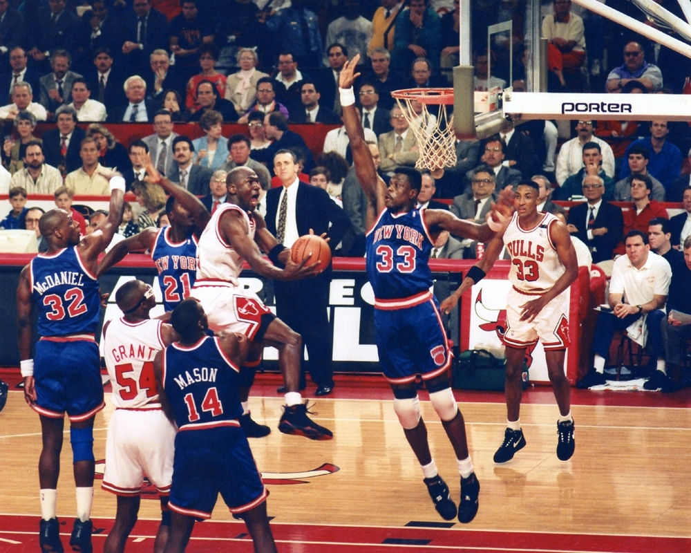 Michael Jordan Soars Over Ewing | Chicago Bulls Framed Print