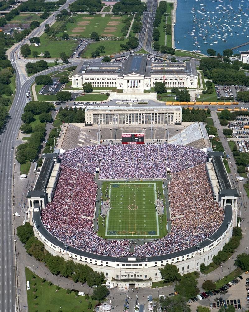 Old Chicago Bears Stadium Aerial Chicago Bears Framed Print