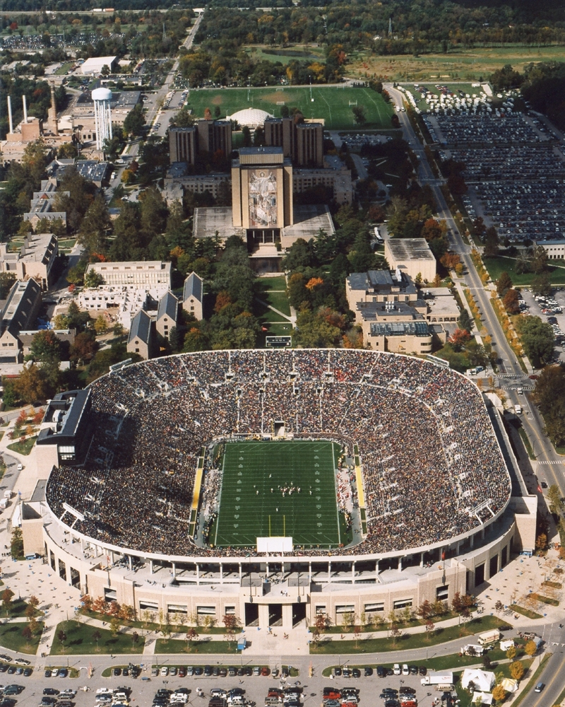 Touchdown Jesus Aerial Of Notre Dame Stadium Big 10