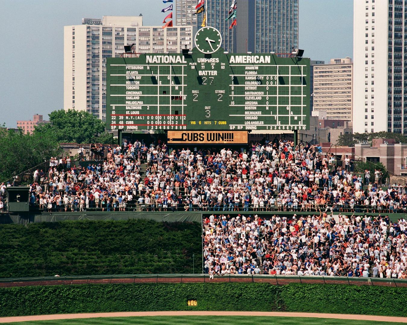 Cubs Win On Center Field Scoreboard Chicago Cubs Framed