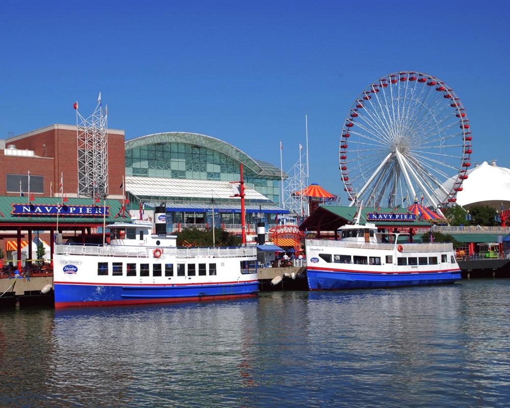 Navy Pier Amp Cruise Ships Chicago Lakefront Framed Print