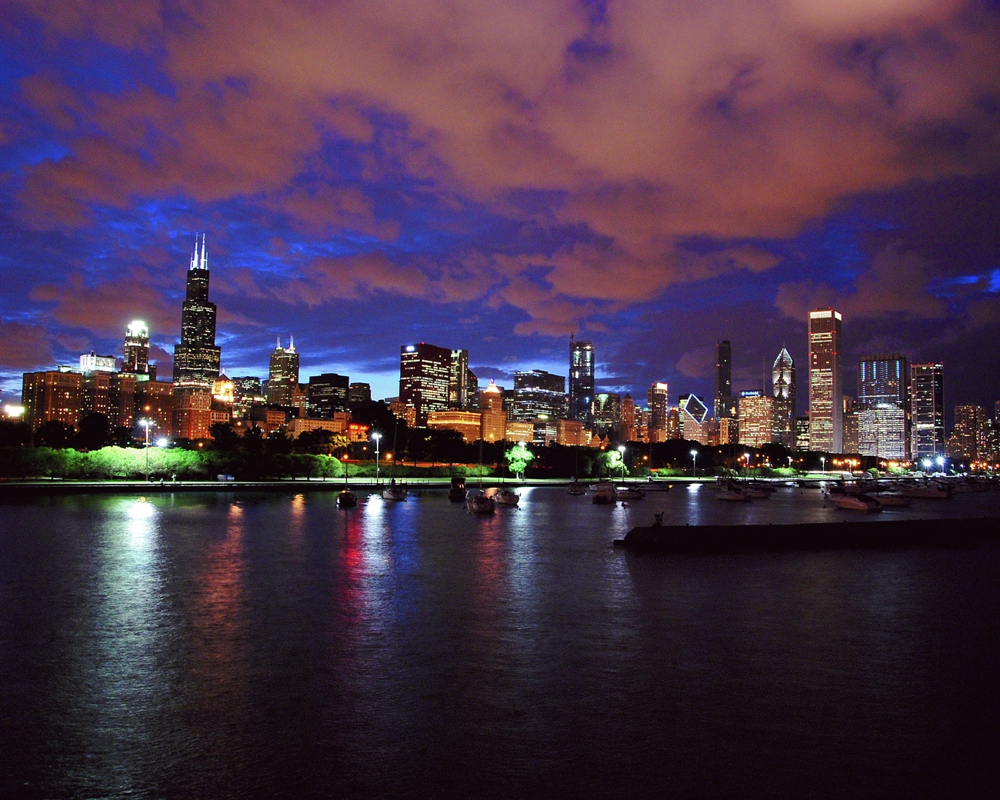 Dramatic Chicago Summer Sunset Chicago Seasons Framed Print