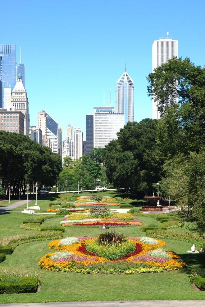 Flower Garden In Grant Park Chicago Loop Framed Print