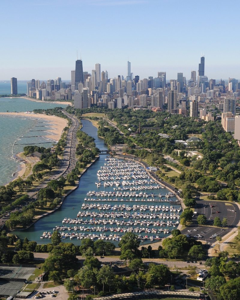 Aerial View Of Diversey Harbor Amp Chicago Lakefront