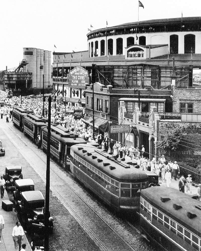 Streets Cars Lined Up At Old Wrigley Field Ballpark
