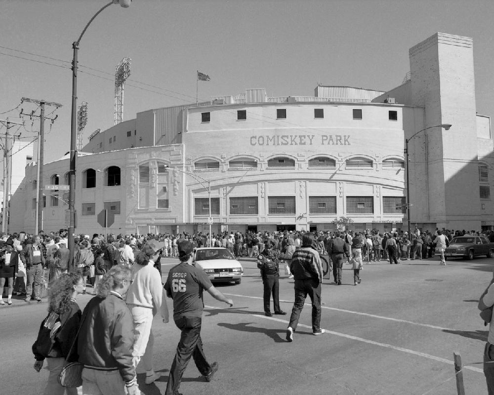 Comiskey Park Black Amp White Chicago White Sox Framed Print