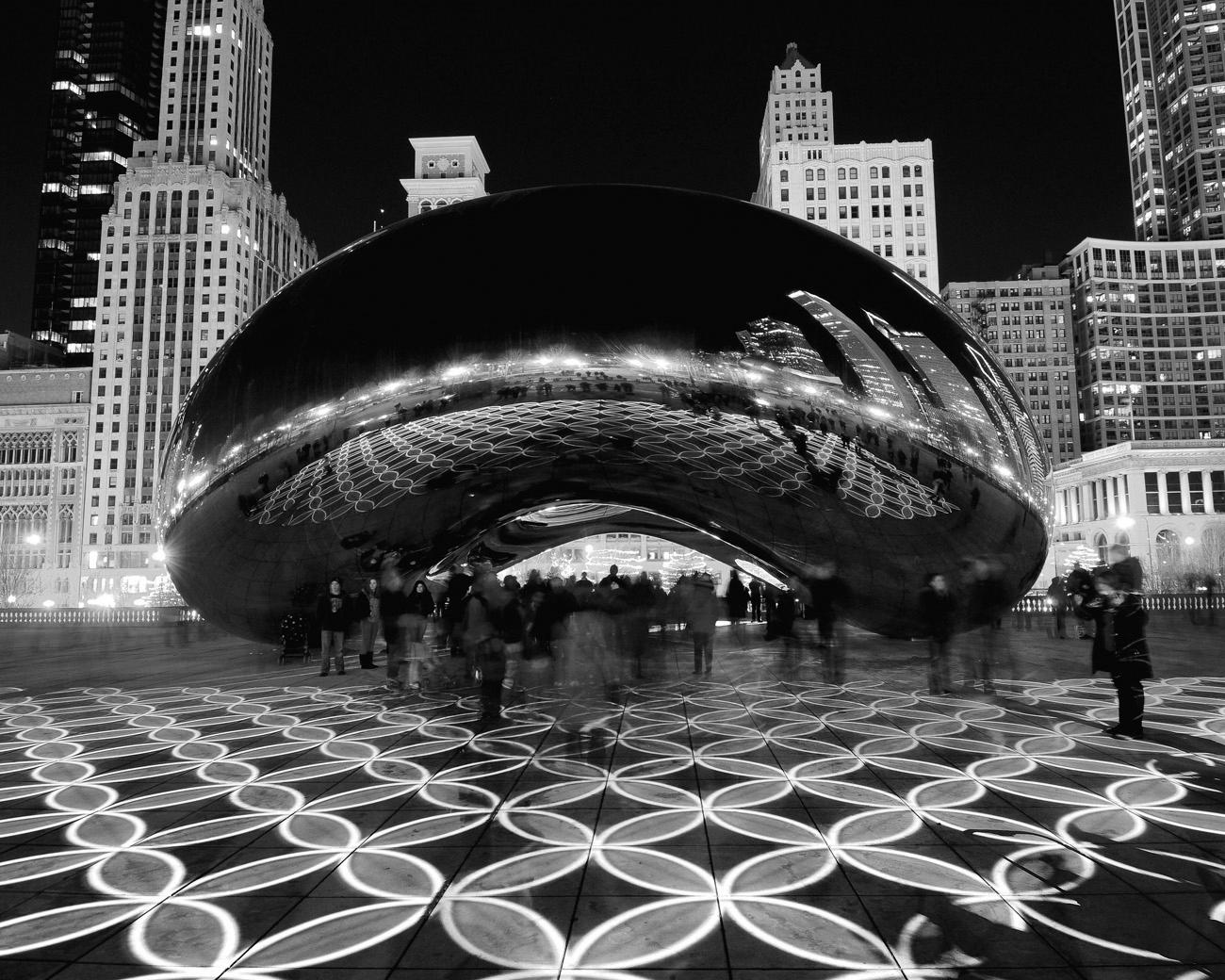 Chicago Architecture Black And White the bean light show - black & white | chicago loop framed print