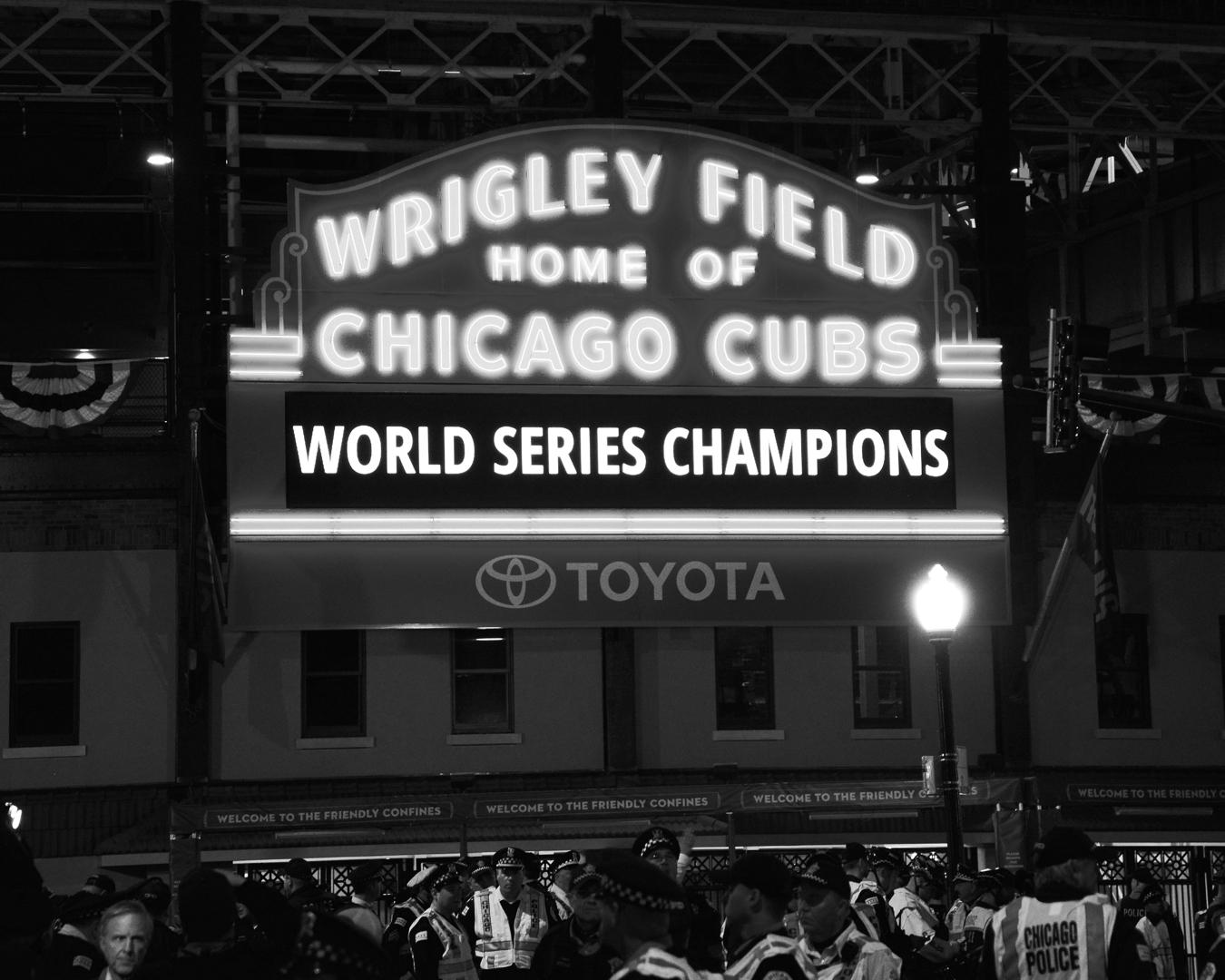 Cubs Are World Series Champions On Wrigley Sign Chicago