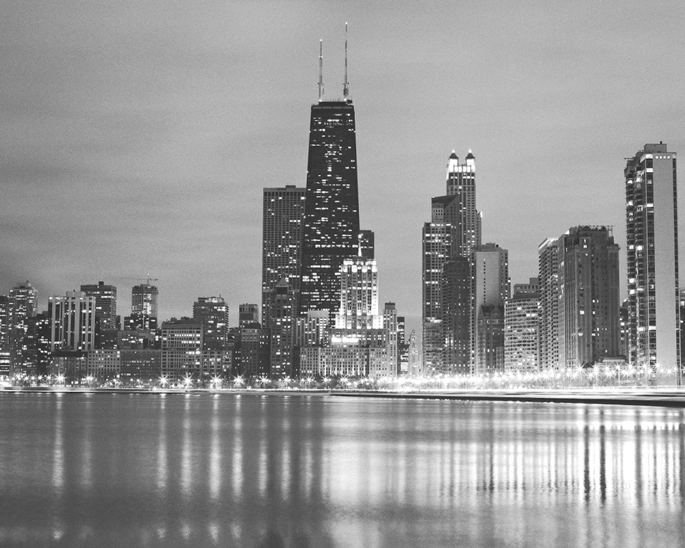 Chicago Skyline Art Chicago Buildings Chicago Black