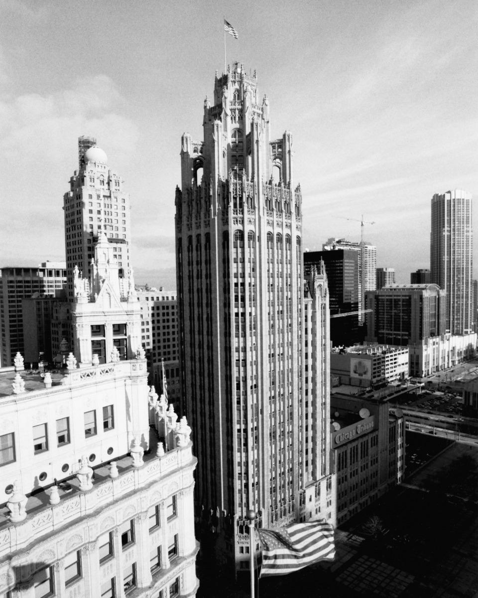 Chicago Architecture Black And White chicago tribune tower building & usa flag - black & white
