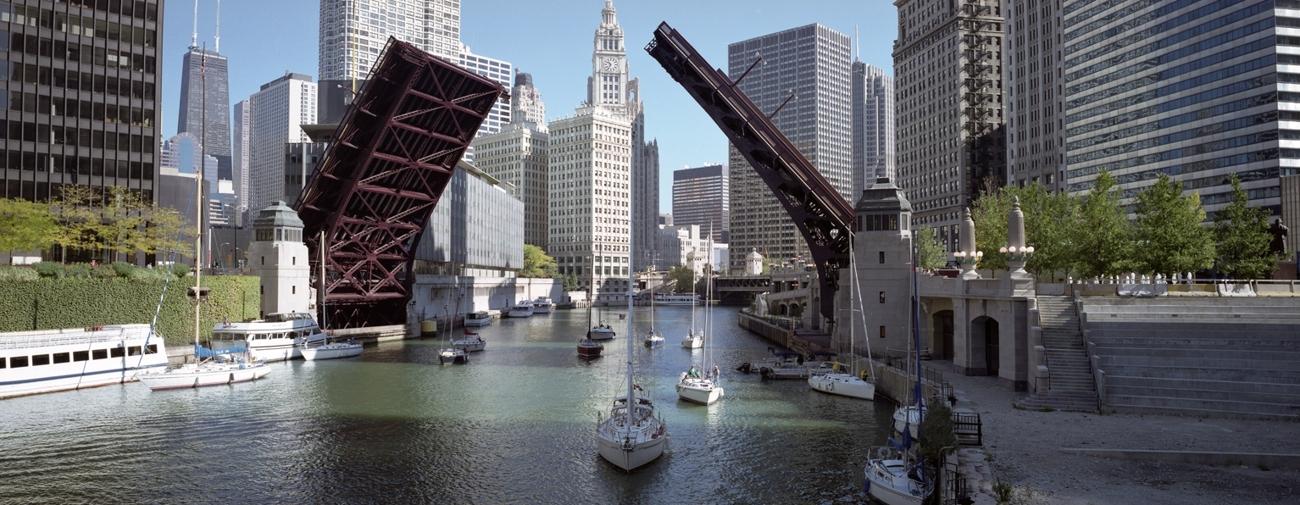 Panorama Of Chicago River Chicago Skyline Framed Print