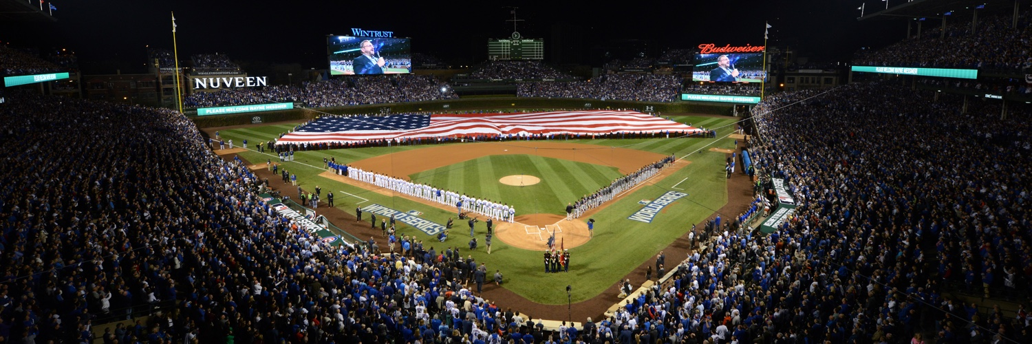 USA Flag Across Wrigley Field Outfield For National Anthem | Chicago ...