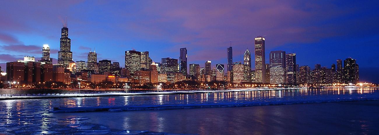2011 Chicago Skyline Sunset Chicago Skyline Framed Print