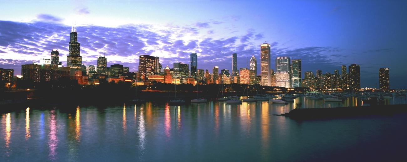 Chicago Skyline Amp Sunset Chicago Skyline Framed Print