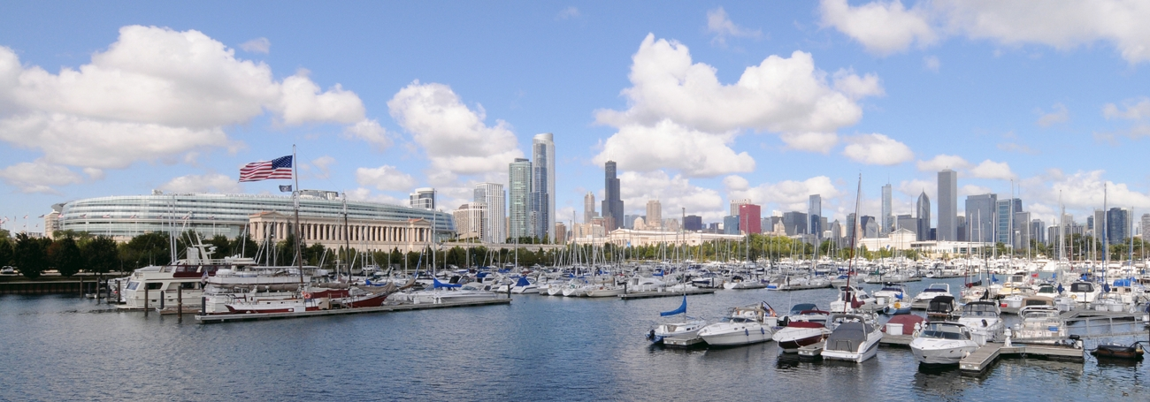 Burnham Harbor Panorama Chicago Skyline Framed Print