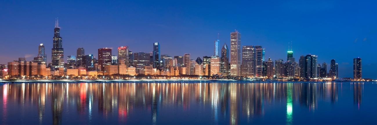 Chicago Winter Reflections Panorama Chicago Skyline
