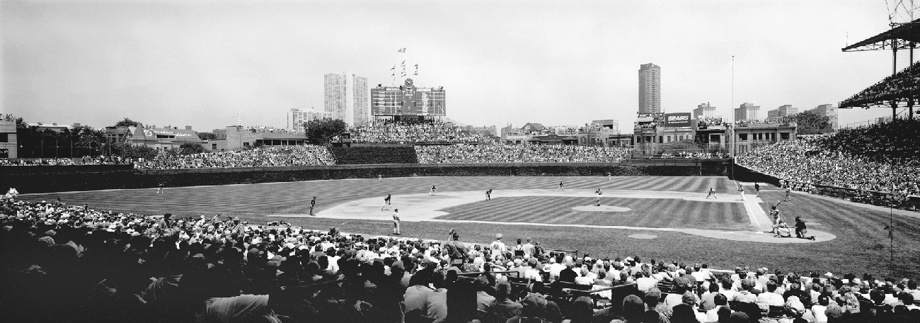 Black And White Wrigley Field Panorama 3rd Base Side