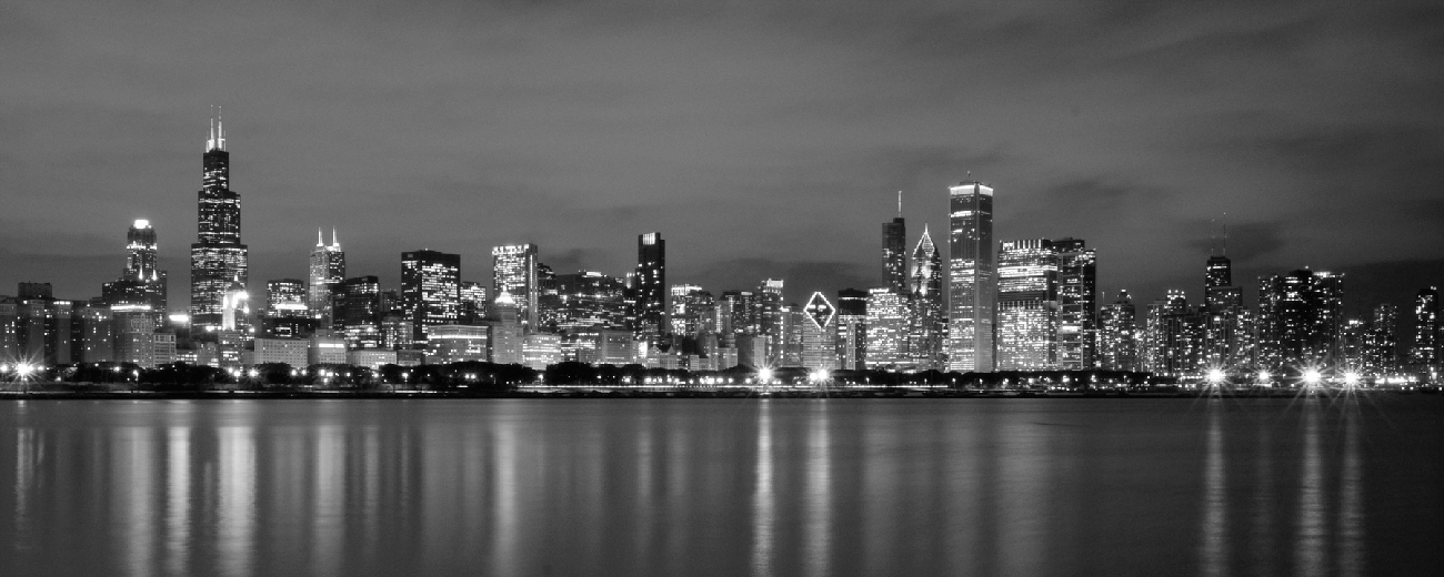 Chicago Black Amp White Panorama Chicago Skyline Framed Print