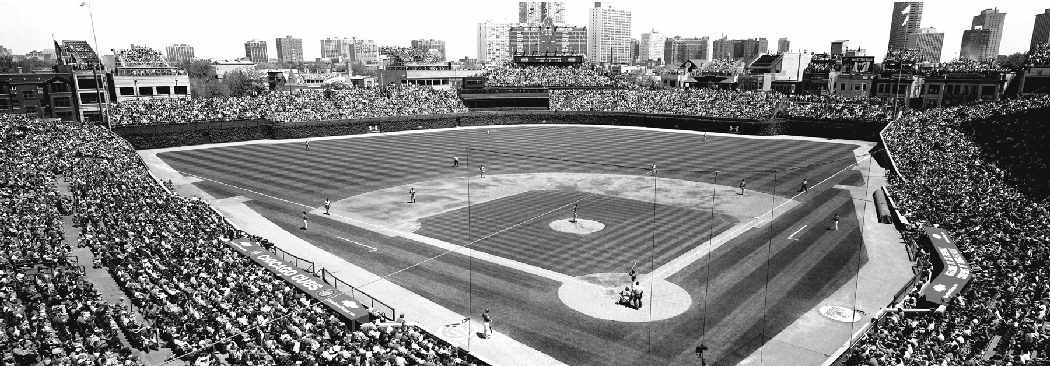 Black white wrigley field panoramic cubs vs pirates for 18x40 frame