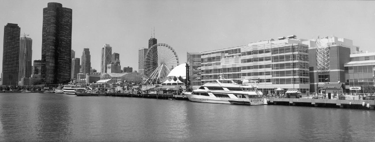 Navy Pier Amp Ferris Wheel Panorama Chicago Skyline Framed
