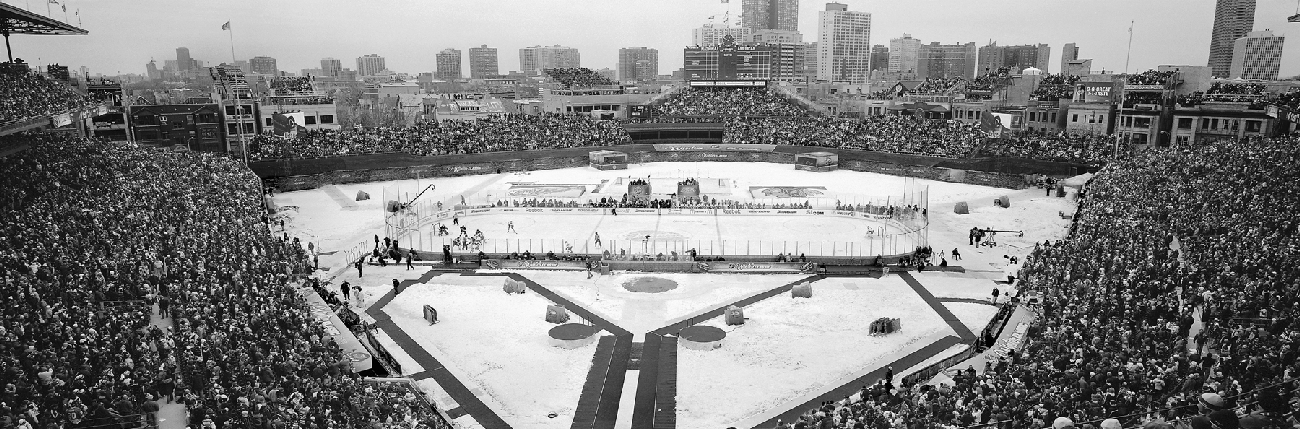 Black white of 2009 winter classic chicago blackhawks for 18x40 frame