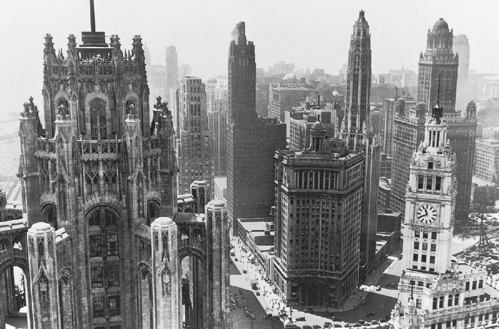 Chicago Architecture Black And White view to grand avenue 1930 - historic chicago | chicago history
