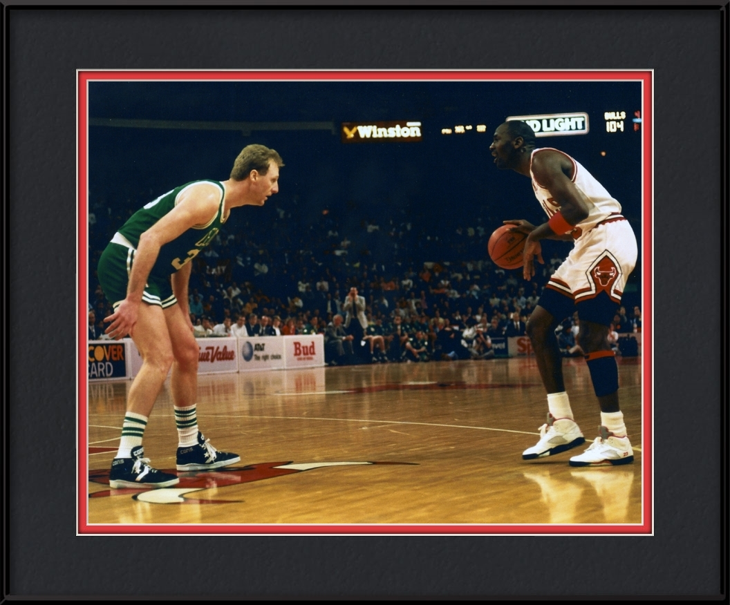 Larry Bird And Michael Jordan | Chicago Bulls Framed Print