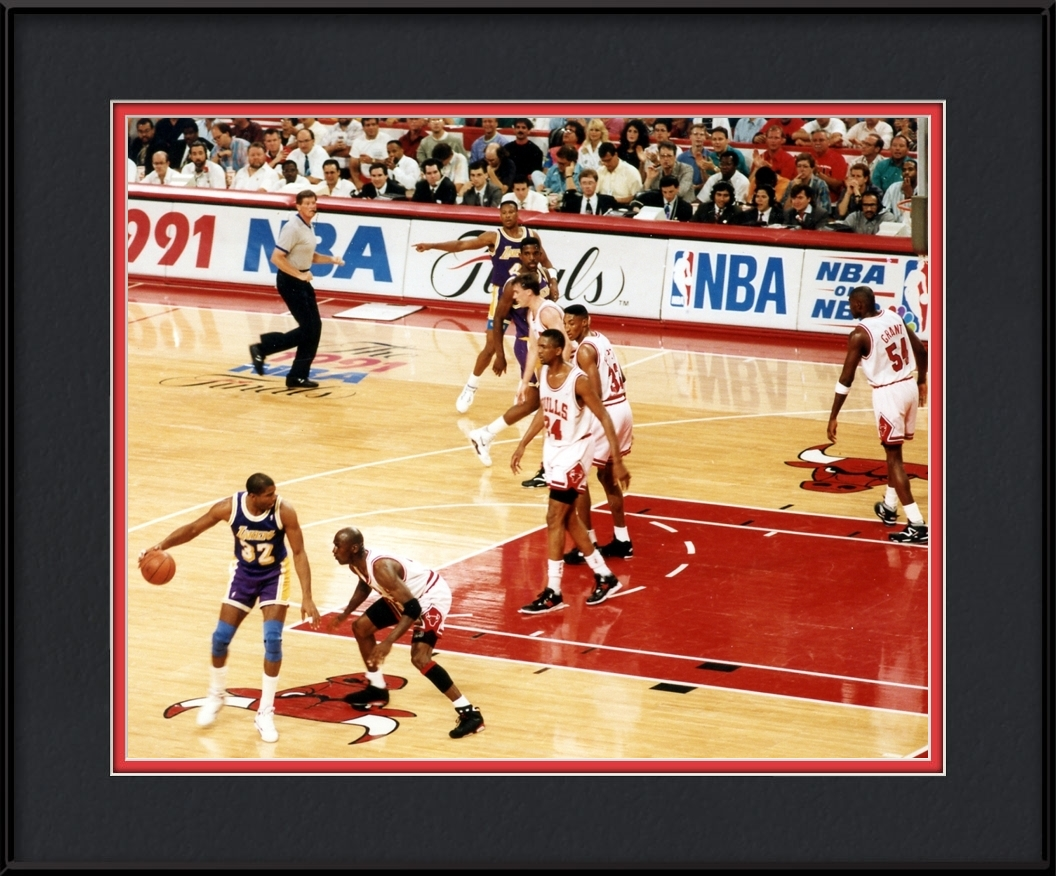 Michael Jordan Guarding Magic Johnson | Chicago Bulls Framed Print