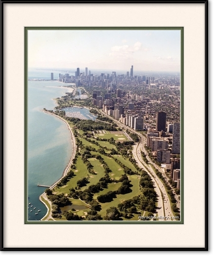 Aerial Of Lakefront Golf Course Chicago Lakefront Framed