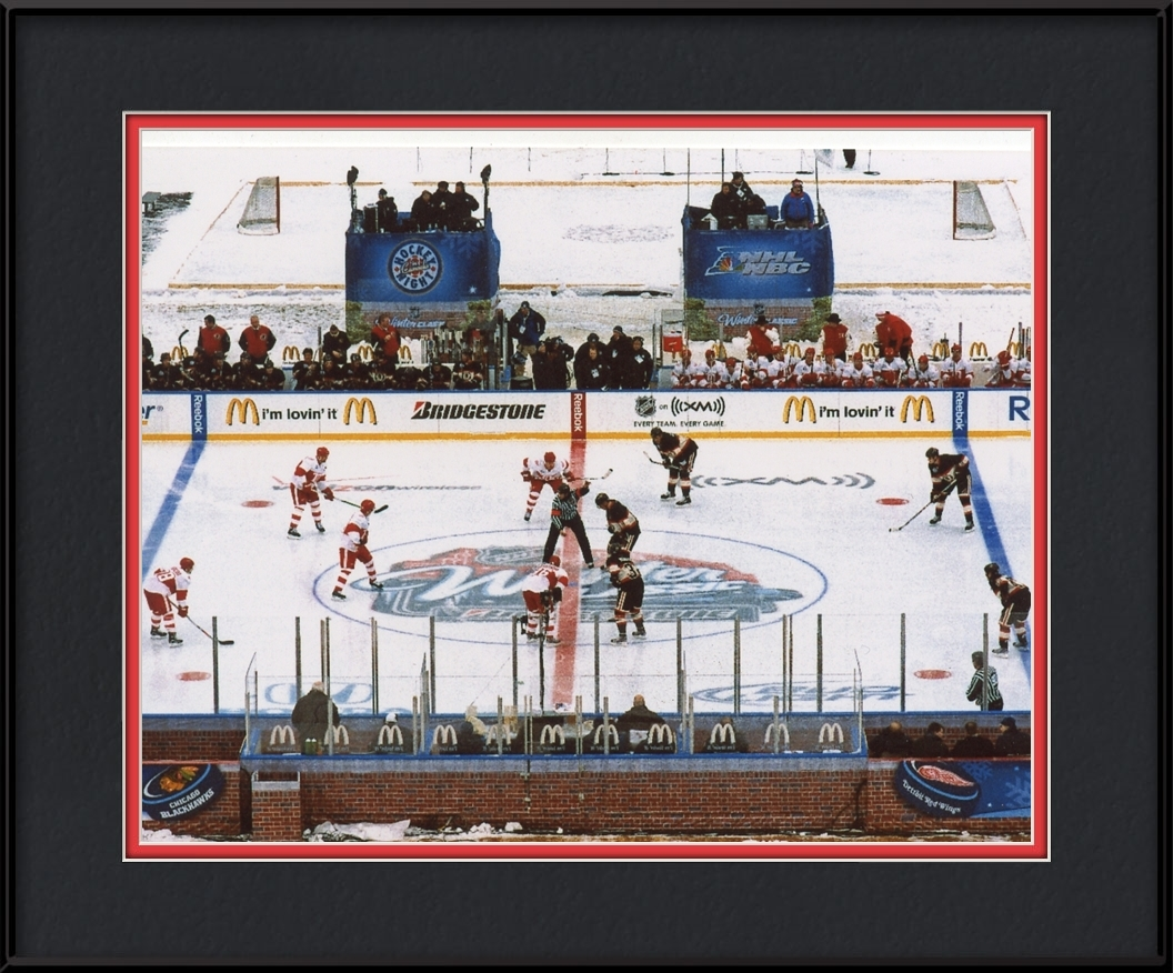 Winter Classic Framed Print Opening Faceoff Chicago