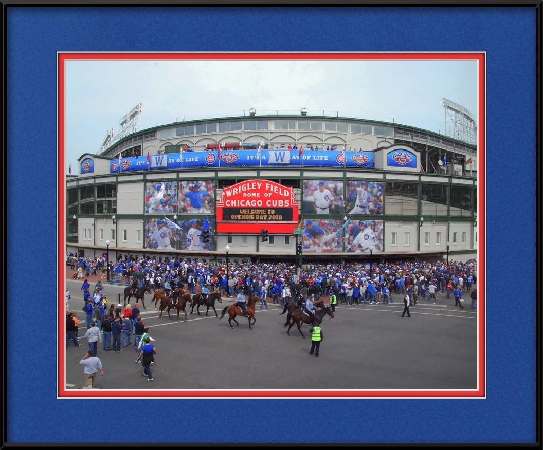 Opening Day On Chicago Cubs Marquee Chicago Cubs Framed