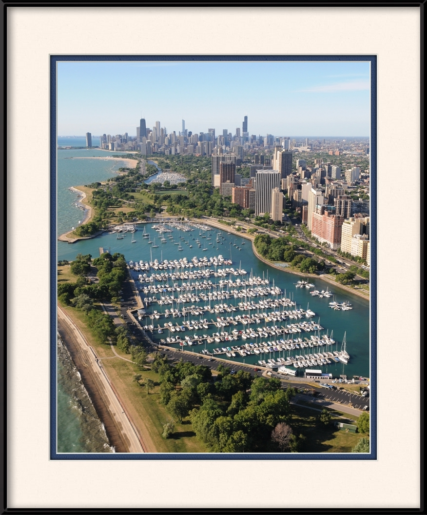 framed-print-of-aerial-view-of-belmont-harbor-chicago-skyline