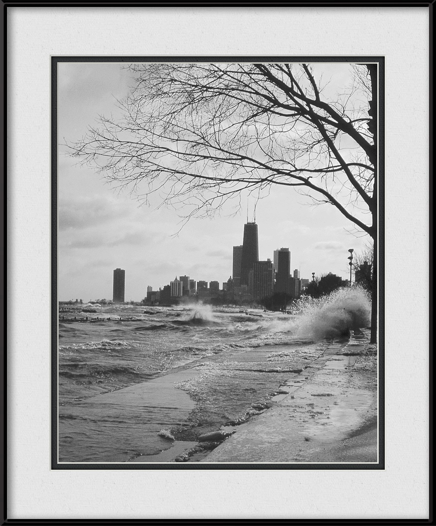 Rough Waters On City Lakefront | Chicago Black & White Framed Print