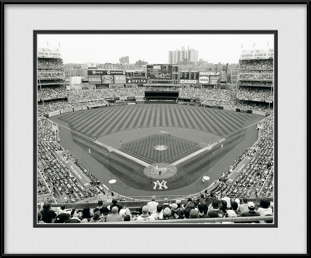 Yankee Game Black Amp White Mlb Stadiums Framed Print