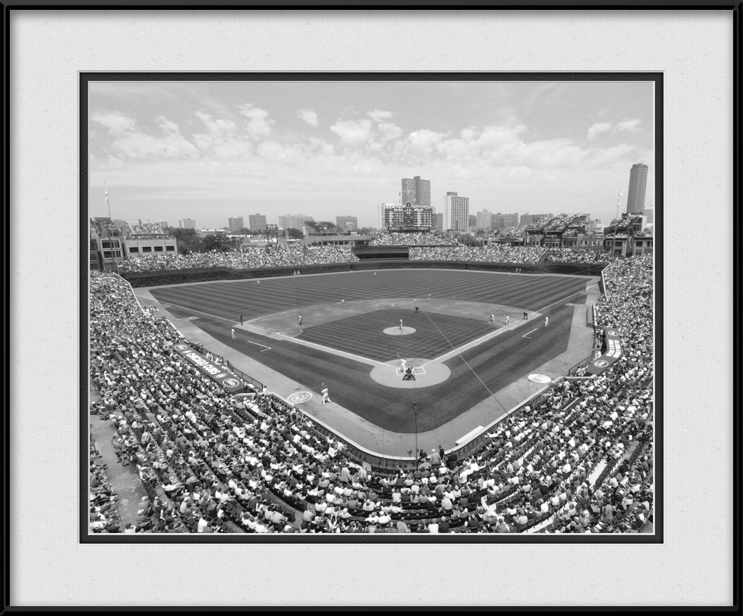 Framed print of wrigley field ballpark black white