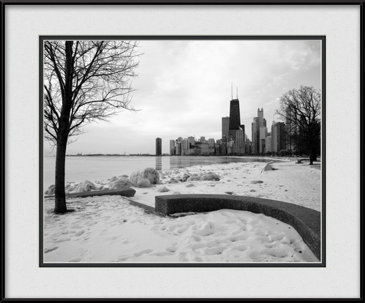 Cold Chicago Winter Morning | Chicago Black & White Framed Print