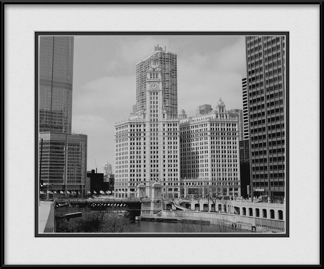 Framed print of wrigley building in black white