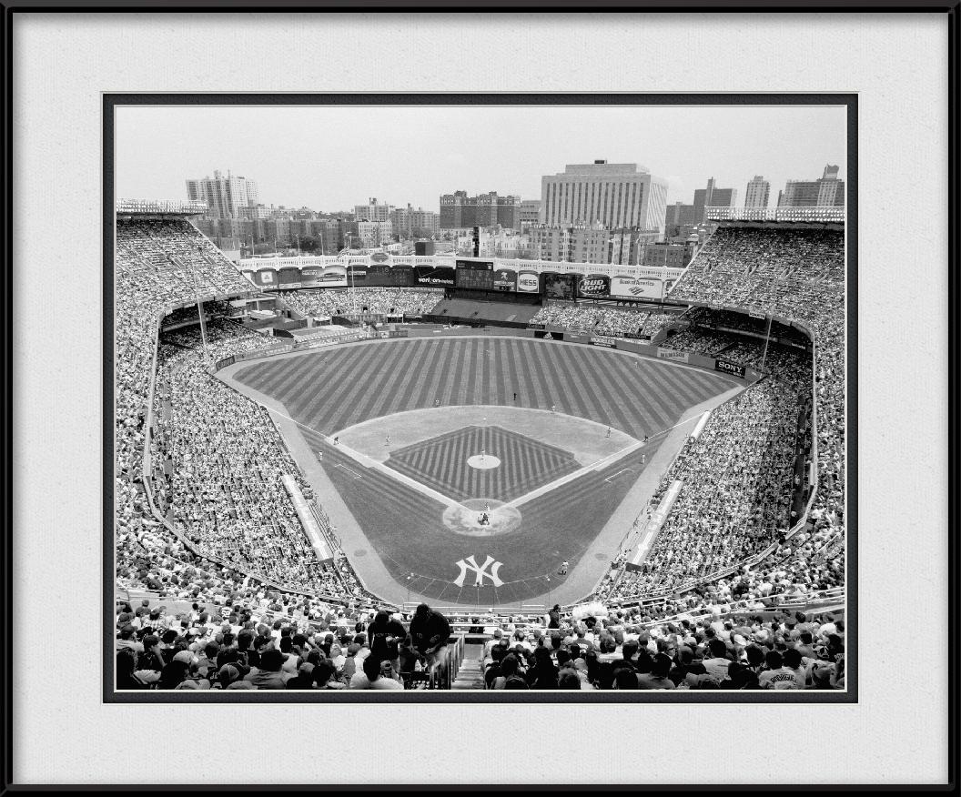 Framed print of old yankee stadium black white