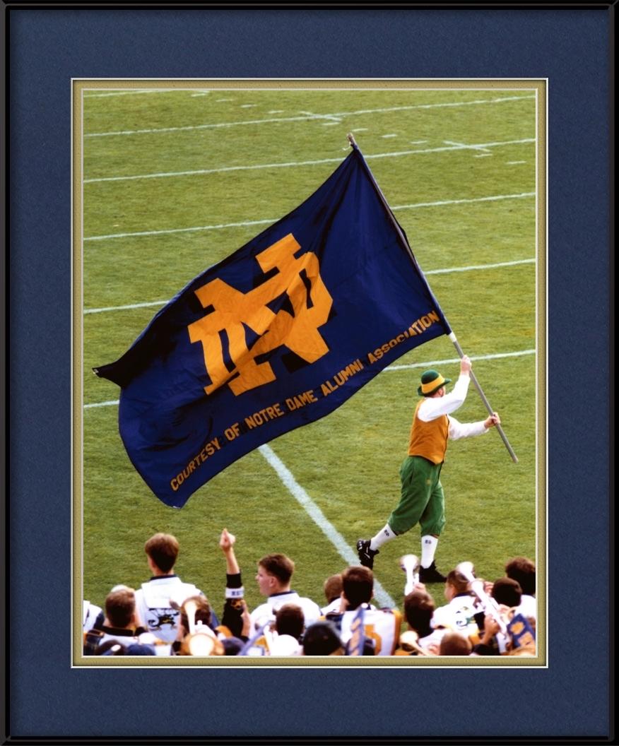 Notre Dame Mascot Amp Flag Big 10 Football Framed Print