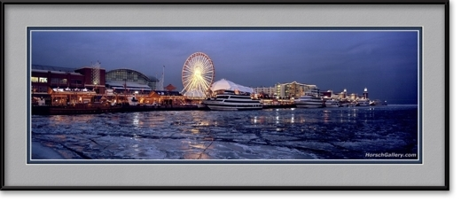 Navy Pier Panorama Ice Chicago Skyline Framed Print
