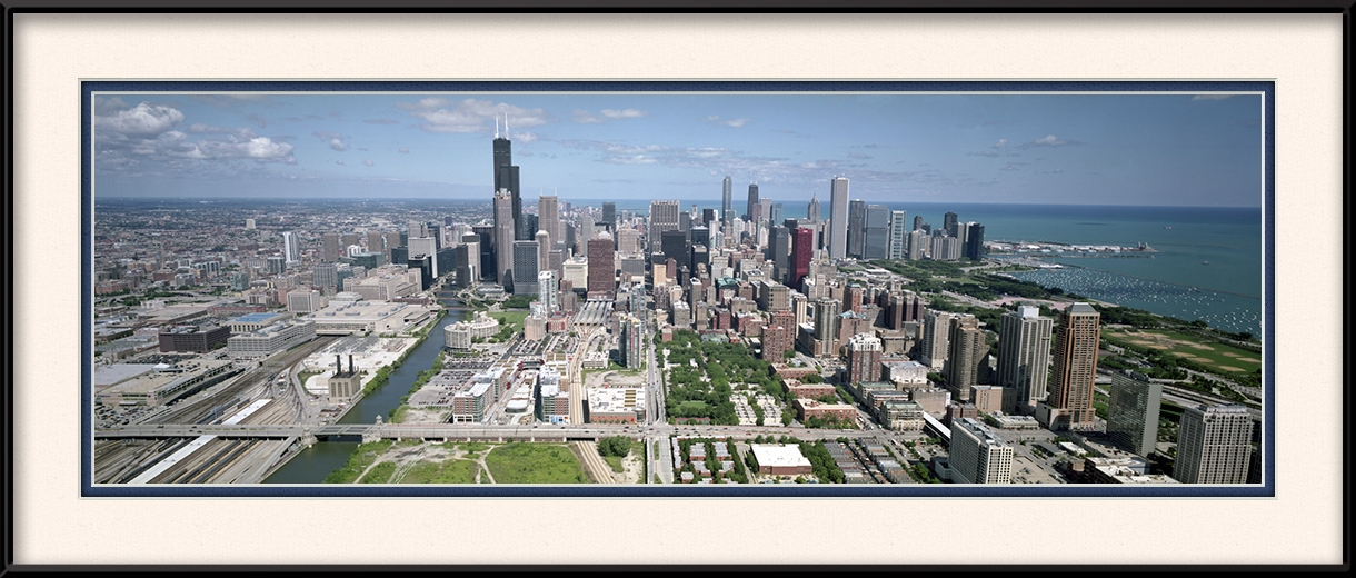 Chicago panorama picture looking north printer 39 s row for 18x40 frame