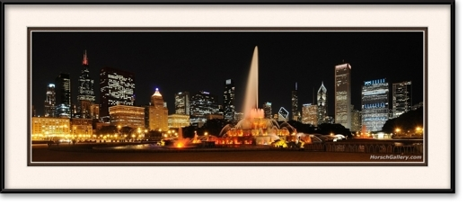 Buckingham fountain panorama chicago loop framed print for 18x40 frame