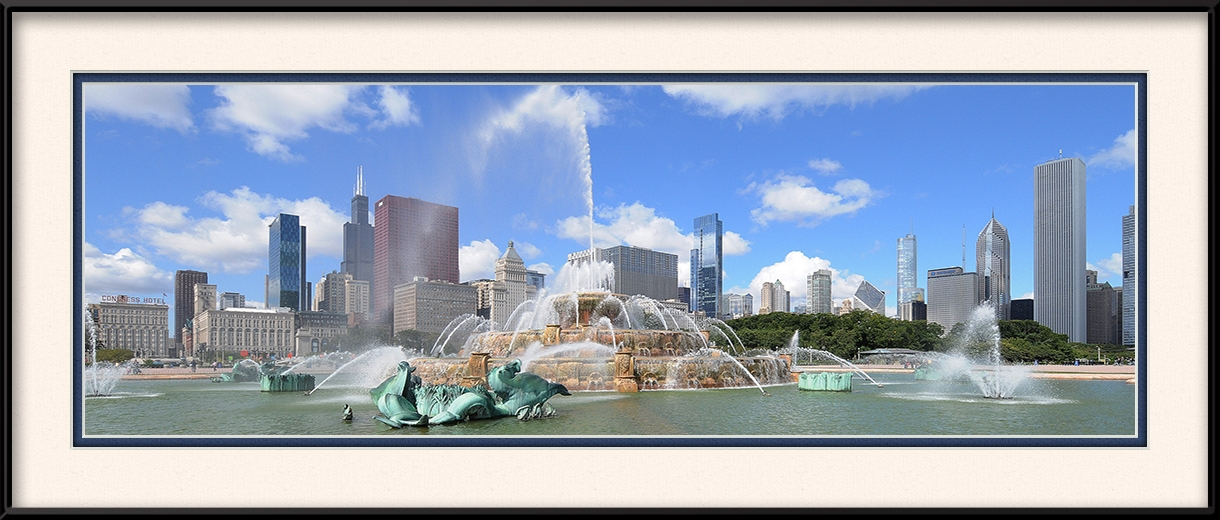 Buckingham Fountain Blue Skies Chicago Loop Framed Print