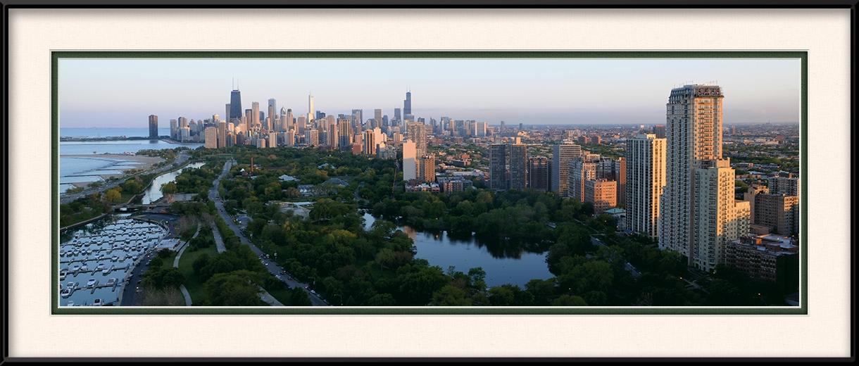 Lincoln Park In The Daytime Chicago Skyline Framed Print
