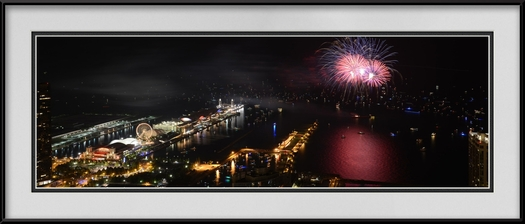 Navy Pier 4th Of July Panorama Chicago Lakefront Framed