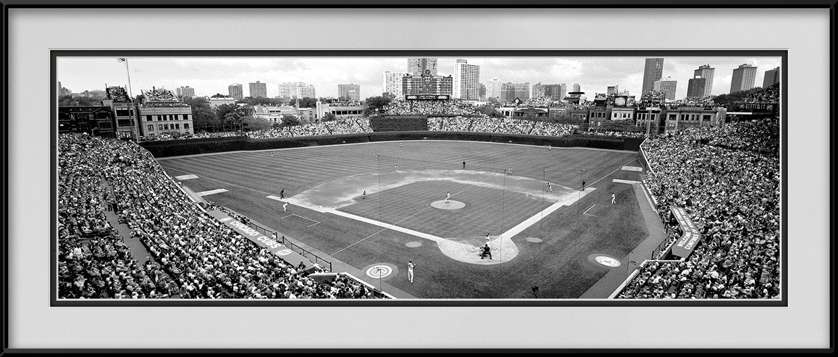 Wrigley Field Black And White Panoramic Chicago Cubs Vs