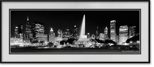 Black Amp White Buckingham Fountain Chicago Skyline Framed