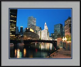 chicago-river-at-night-framed-picture