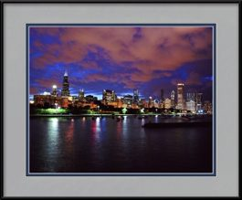 picture-of-chicago-skyline-dramatic-summer-sunset-framed-picture
